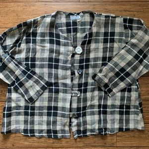 Black and Cream Plaid Boxy Linen Long Sleeve Shirt